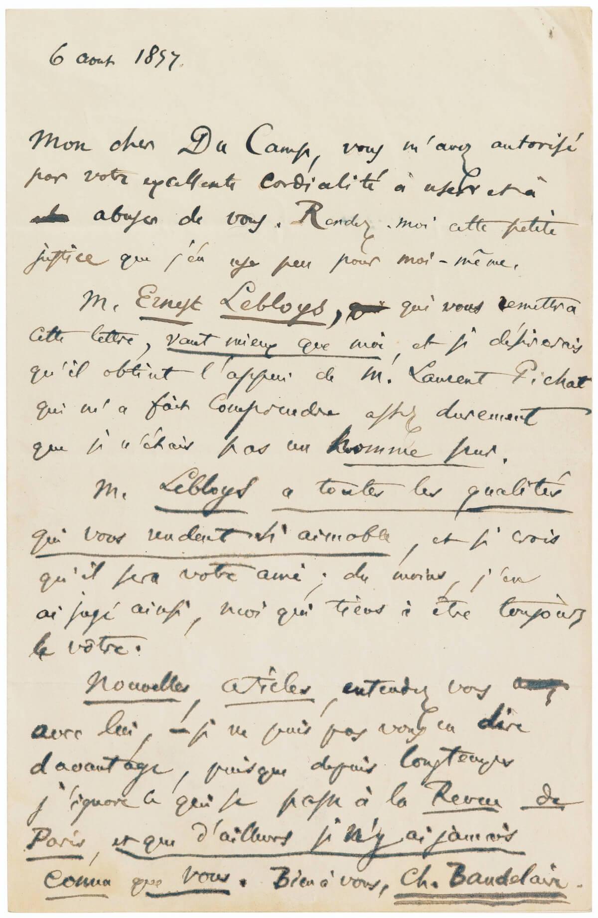 Baudelaire, aan Maxime Du Camp. Parijs, 6 augustus 1857.  Vertalingen Vivienne Stringa