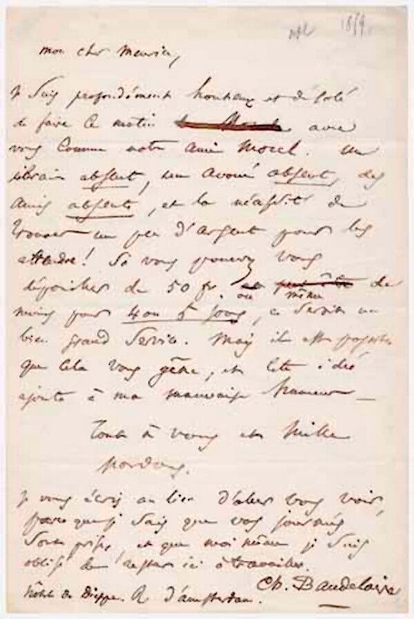 Baudelaire aan P. Meurice. Parijs, juli 1859. Vertalingen Vivienne Stringa
