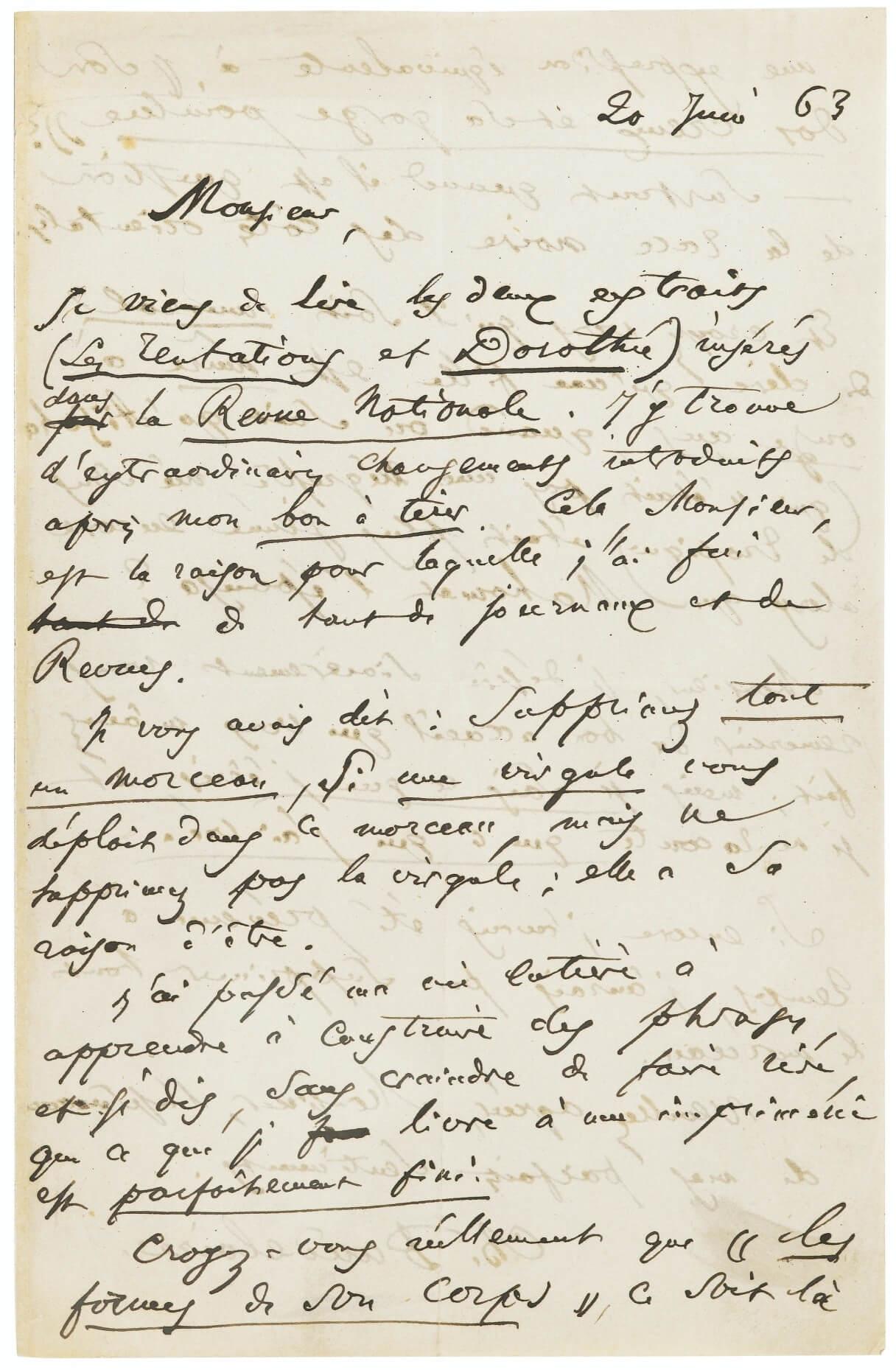 Charles Baudelaire aan Gervais-Hélène Charpentier. Parijs, 20 juni 1863.   Vertalingen Vivienne Stringa