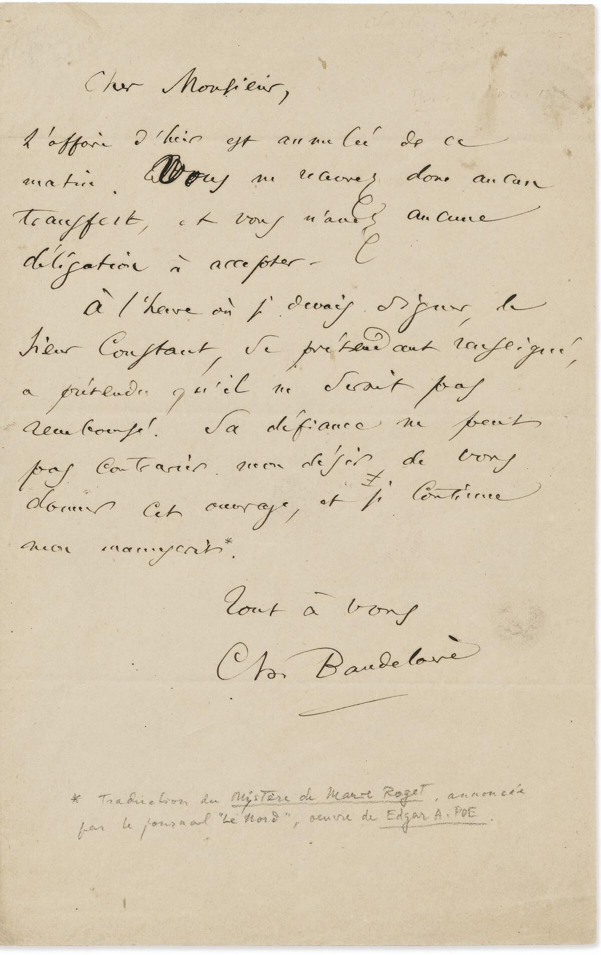Mario Uchard.  Baudelaire, Parijs, 16 februari 1863.  Vertalingen Vivienne Stringa