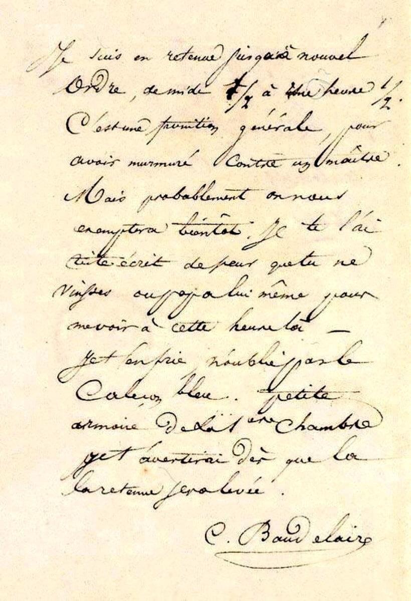Baudelaire aan Mme Aupick. Parijs, 24 mei 1838.  Vertalingen Vivienne Stringa