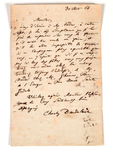 Brief aan Narcisse Ancelle.Charles Baudelaire, Brussel,Brief aan Adolphe O'Connell. Brussel, 30 augustus 1864. Ondertekende brief.