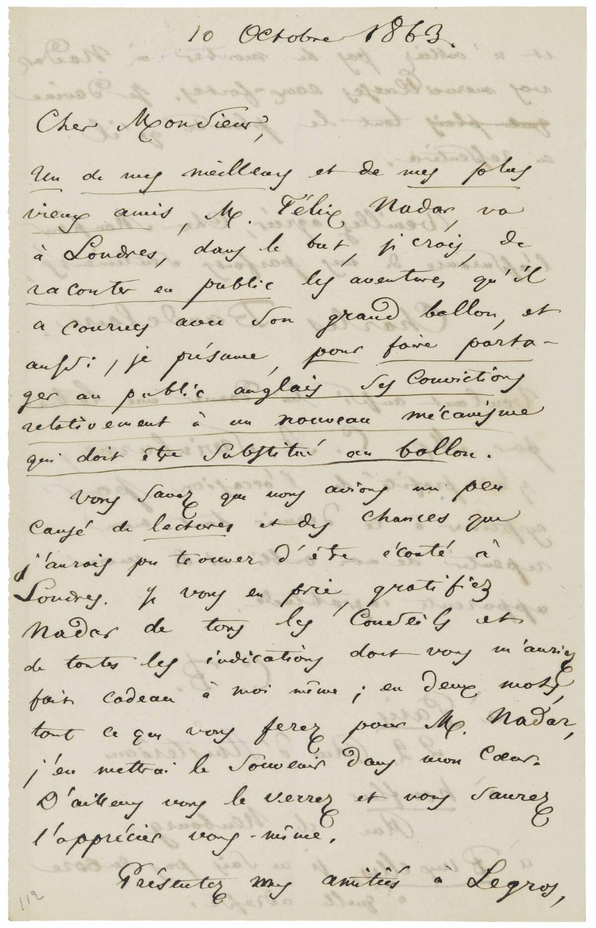 Charles Baudelaire aan James Abbott McNeill Whistler. Parijs, 10 oktober 1863.  Vertalingen Vivienne Stringa
