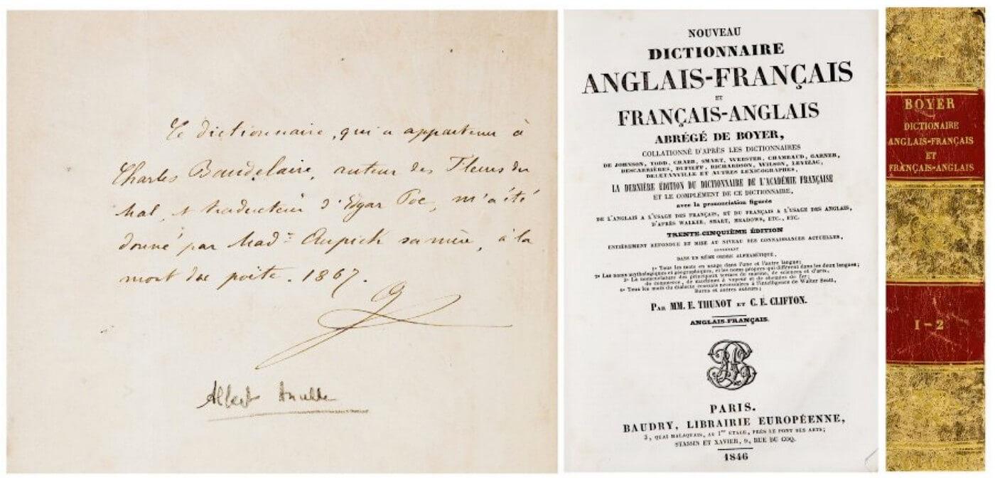 Woordenboek Engels-Frans. Het persoonlijke woordenboek van Baudelaire.  vertalingen Vivienne Stringa