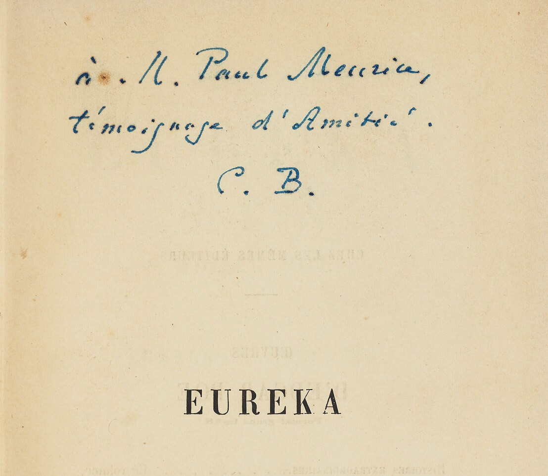 Edgar Poe. Eurêka. Charles Baudelaire. Paris, Michel Lévy frères, 1864. correspondentie Brussel, België. Vertaling Charles Baudelaire, Vertalingen Vivienne Stringa.