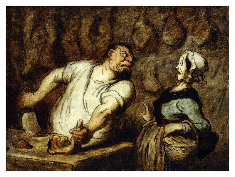 Honoré Daumier. Le boucher au marché de Montmartre. Lamartine. Mon horreur des bouchers. Mijn afschuw van slagers.  Vertaling Alphonse de Lamartine. Vertalingen Vivienne Stringa