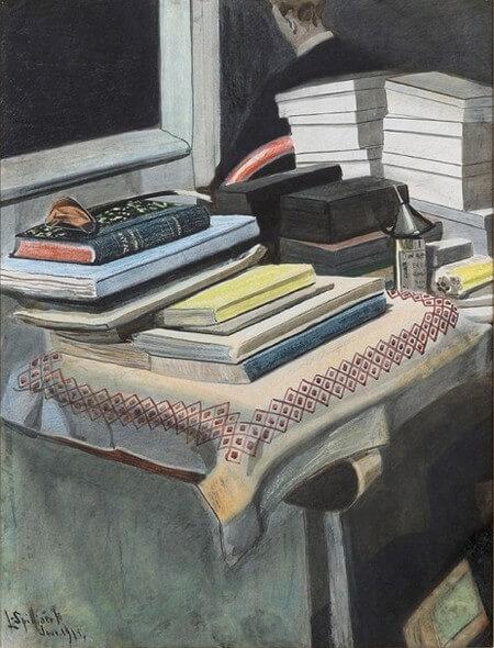 Charles Baudelaire: Een keuze uit zijn brieven. Aan Michel Lévy Brussel, België.15 februari 1865.Léon Spilliaert (1881-1946) Zelfportret met boeken, 1907 Pastel. vertaling correspondentie Baudelaire, vertalingen Vivienne Stringa