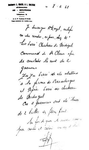 Léo Ferré, Pépée vertaling, chimpansee Pépée gedood door een kogel in het voorhoofd, gedicht Léo Ferré, château de Perdrigal, Lot, Vertalingen Vivienne