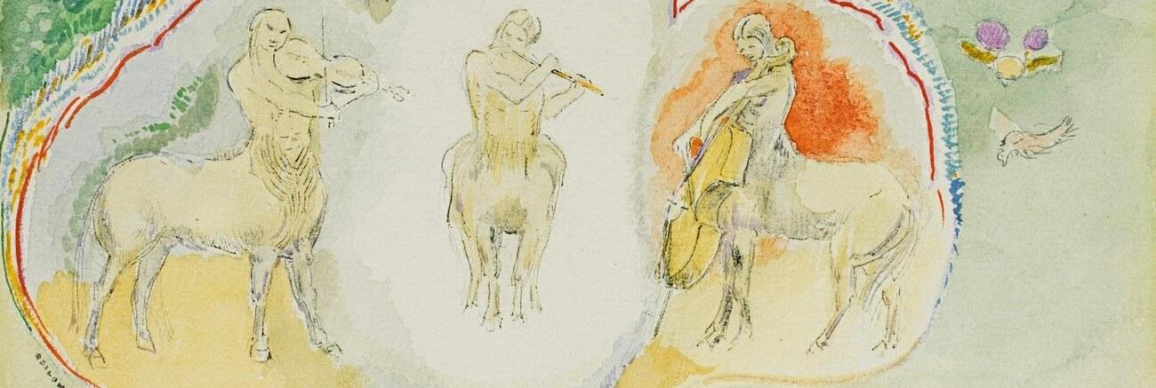Les Centaures, Musiciens. Odilon Redon. 1840-1916. Vertalingen Vivienne Stringa.